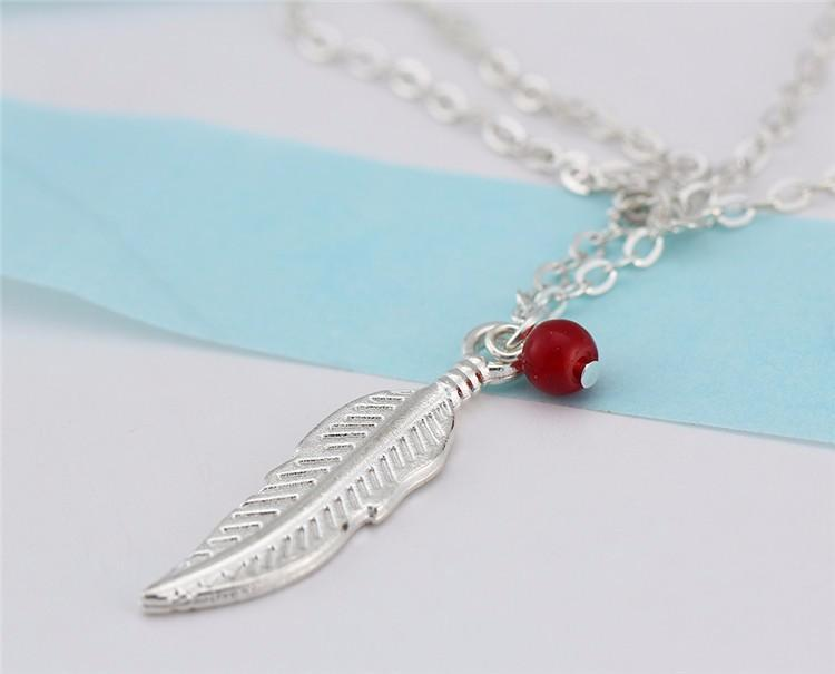 Excessorize Me Anklet Leaf and Red Bead Anklet