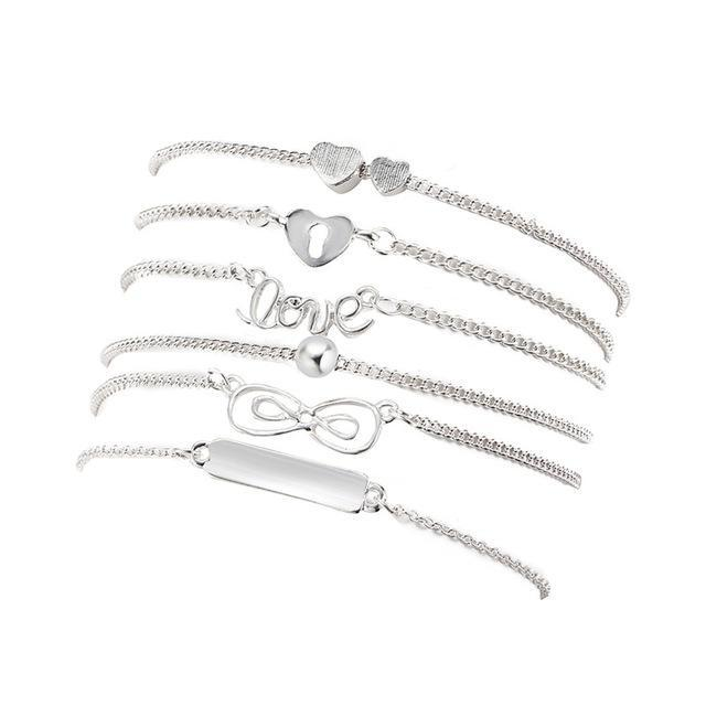 Excessorize Me Anklet Silver 6 Piece Charm Anklet Set