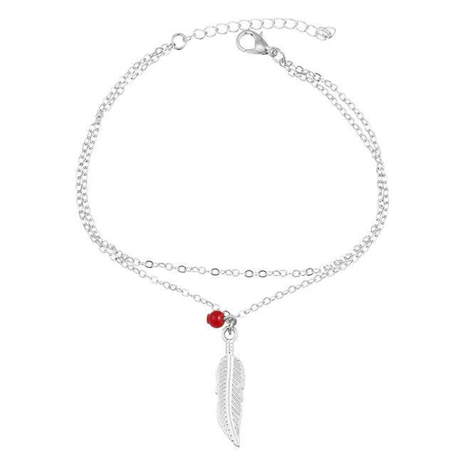 Excessorize Me Anklet Silver Leaf and Red Bead Anklet