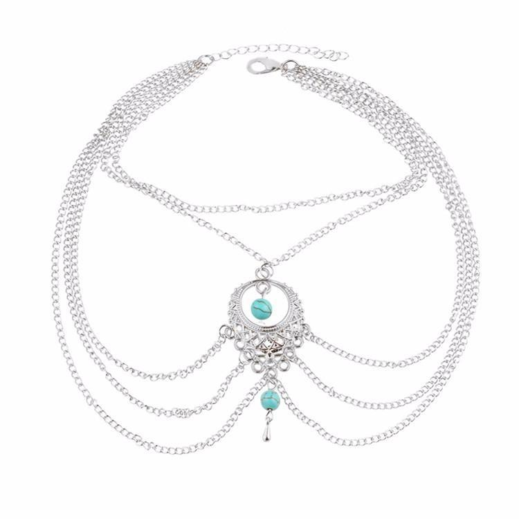 Excessorize Me Anklet Silver Turquoise Bead Tassel Anklet