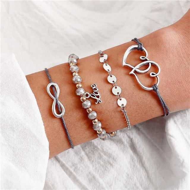 Excessorize Me Bracelet Grey with Infinity Vintage Heart Charm Bracelets