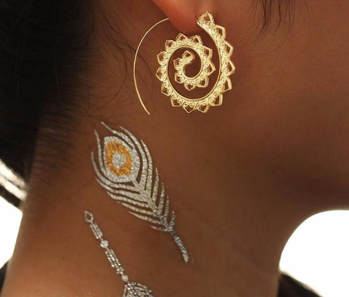 Excessorize Me Earring Gold Geometric Swirl Hoop Earrings