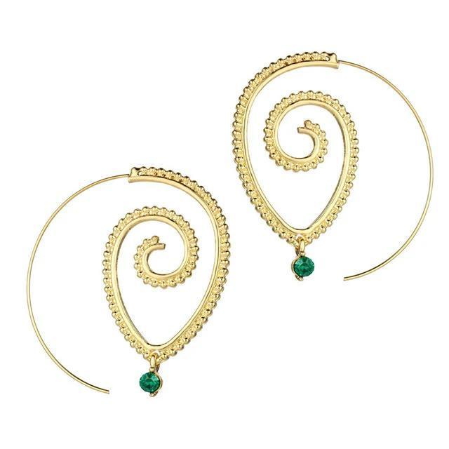 Excessorize Me Earring Gold Green Crystal Swirl Earrings