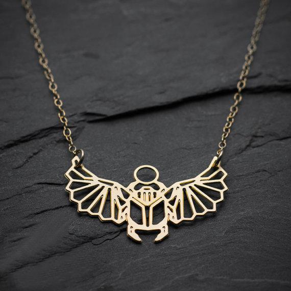 Excessorize Me Necklace Geometric Scarab Necklace