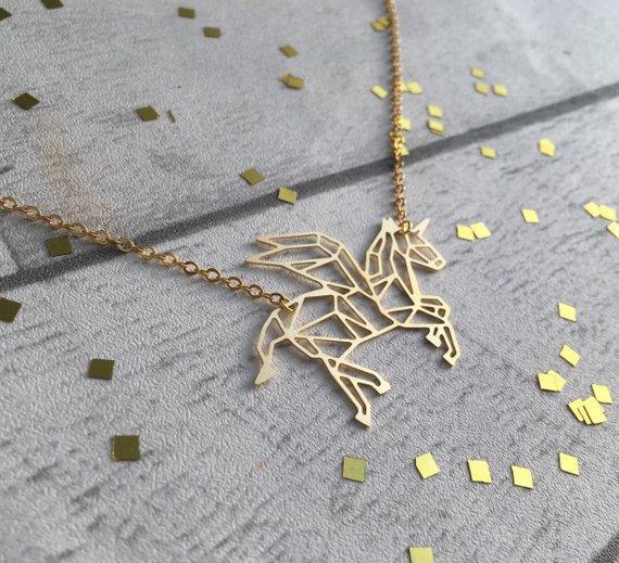 Excessorize Me Necklace Geometric Unicorn Necklace