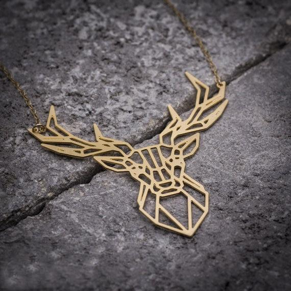 Excessorize Me Necklace Gold Colour Geometric Deer Necklace