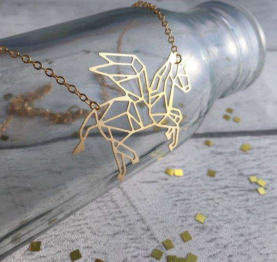 Excessorize Me Necklace Gold Geometric Unicorn Necklace