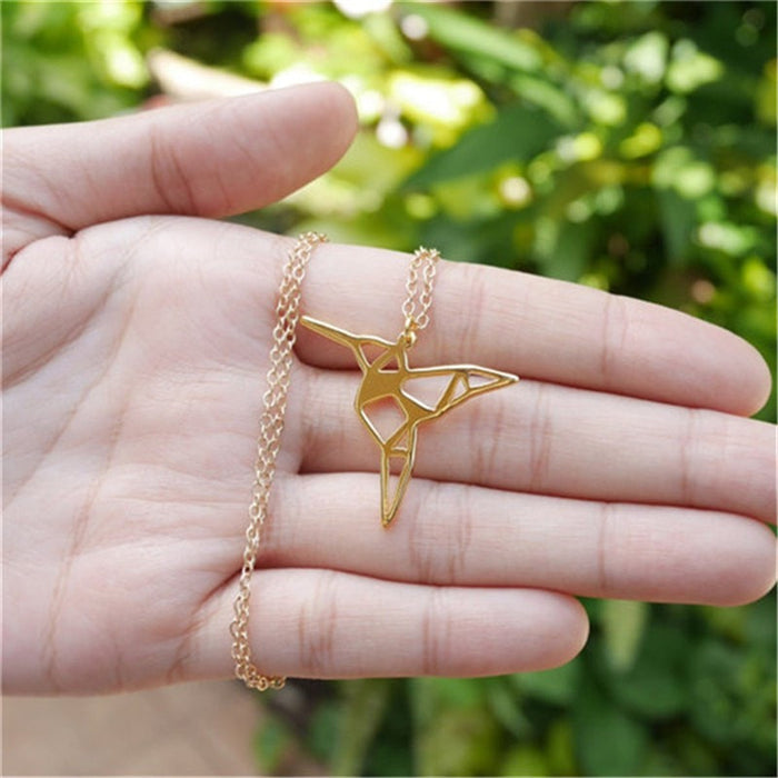Excessorize Me Necklace Gold Origami Hummingbird Necklace