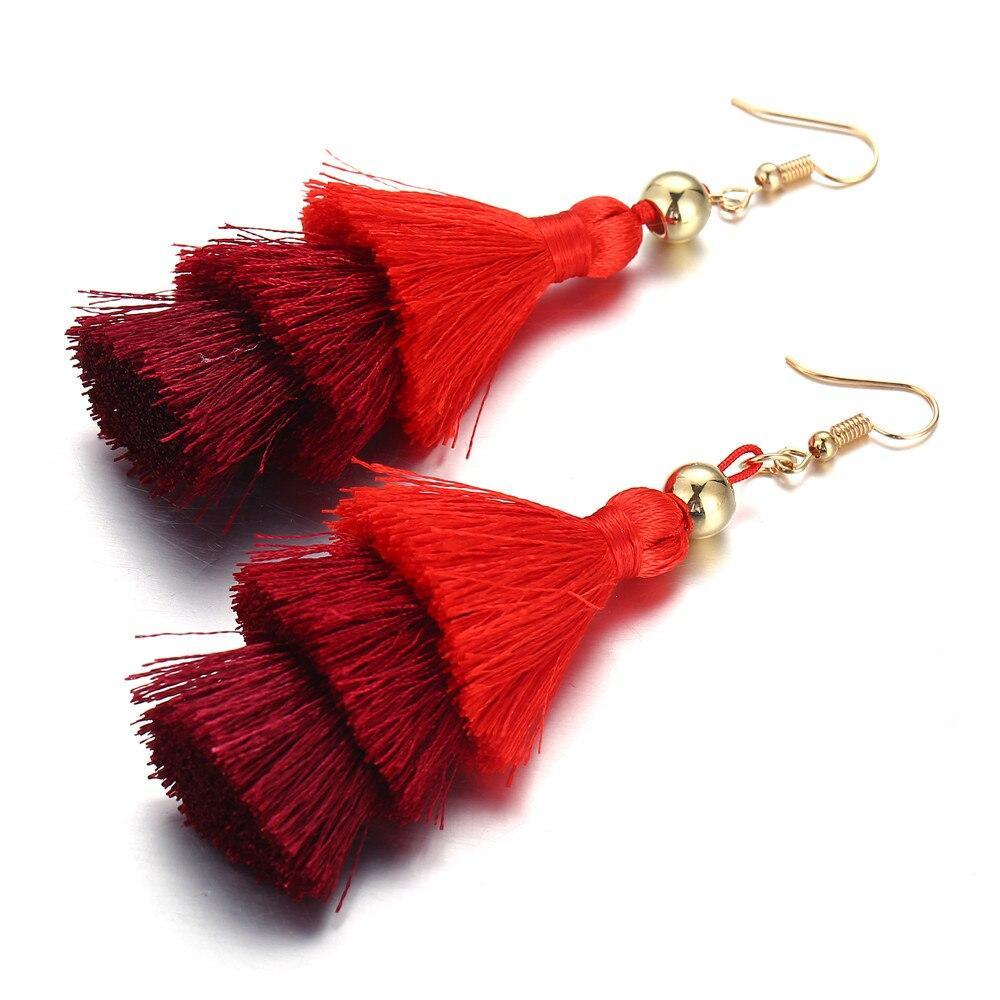 Excessorize Me Necklace Red Tassel Earrings