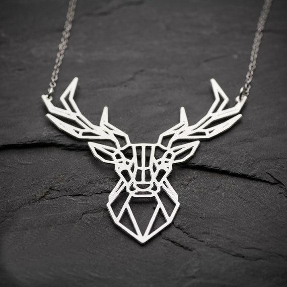 Excessorize Me Necklace Silver Colour Geometric Deer Necklace