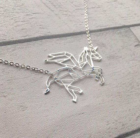 Excessorize Me Necklace Silver Geometric Unicorn Necklace