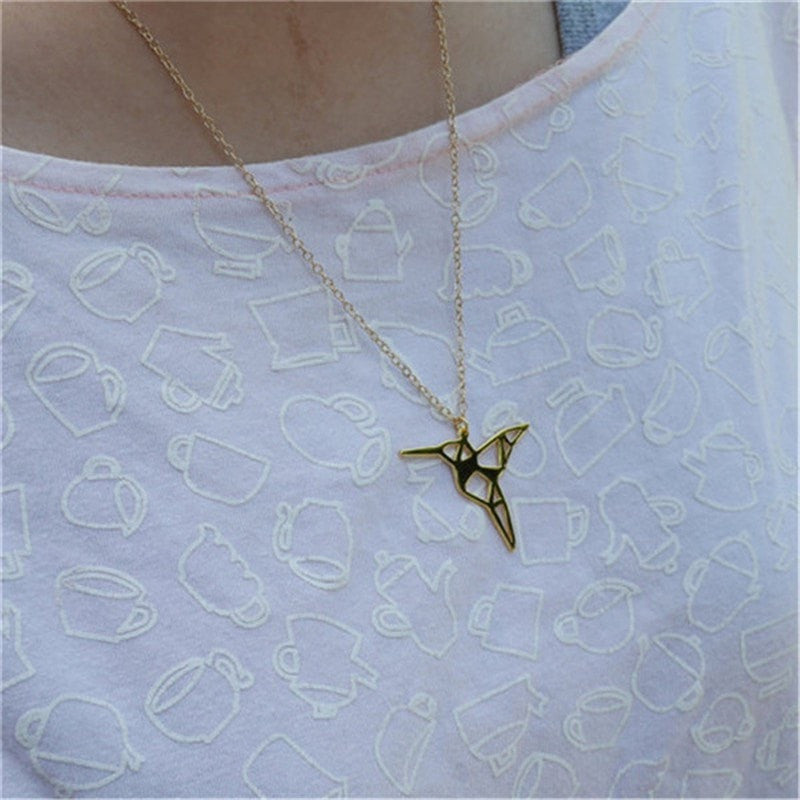 Excessorize Me Necklace Silver Origami Hummingbird Necklace