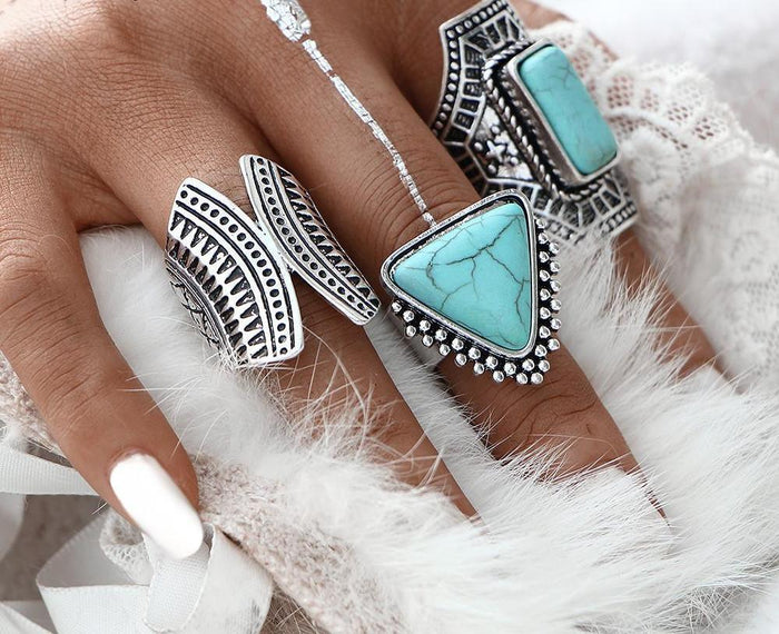 Excessorize Me ring 3 Piece Boho Stone Rings
