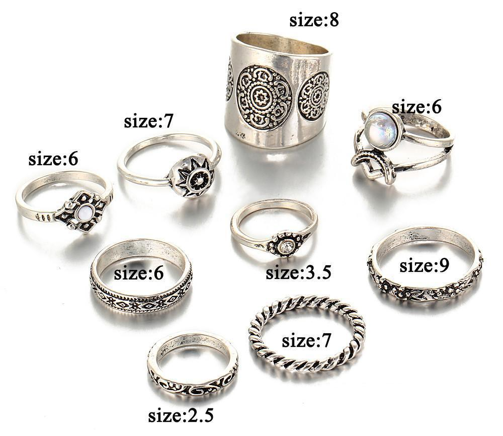 Excessorize Me ring 9 Piece Vintage Carved Ring Set