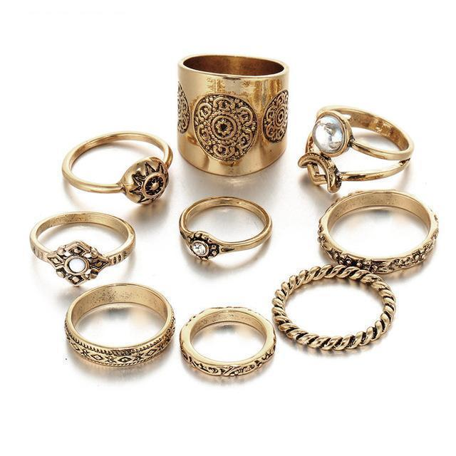 Excessorize Me ring Gold 9 Piece Vintage Carved Ring Set