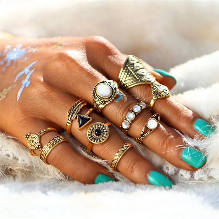 Excessorize Me ring Gold Leaf and Stone Midi Ring Sets