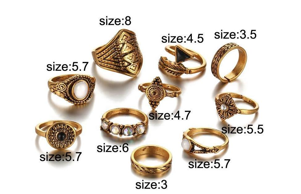 Excessorize Me ring Leaf and Stone Midi Ring Sets
