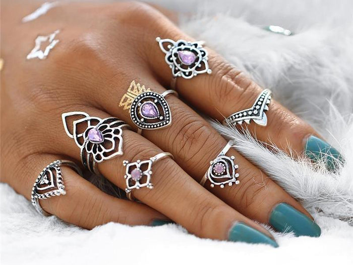 Excessorize Me ring Purple Tibetan Inspired Flower Ring Set