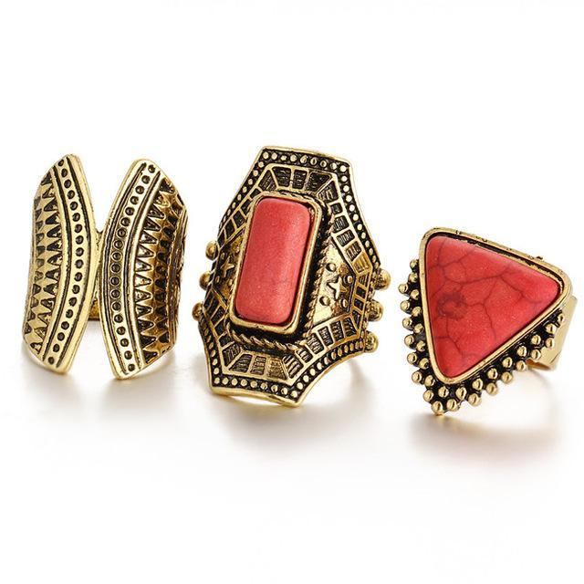 Excessorize Me ring Red and Gold 3 Piece Boho Stone Rings