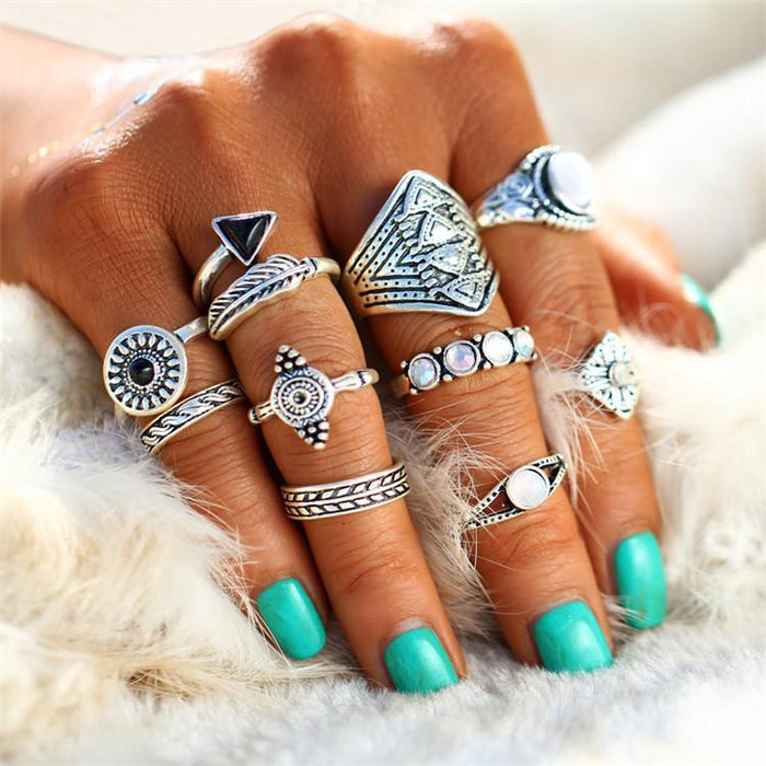 Excessorize Me ring Silver Leaf and Stone Midi Ring Sets