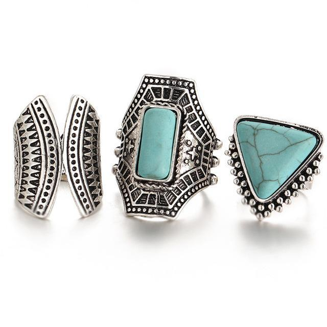 Excessorize Me ring Turquoise and Silver 3 Piece Boho Stone Rings