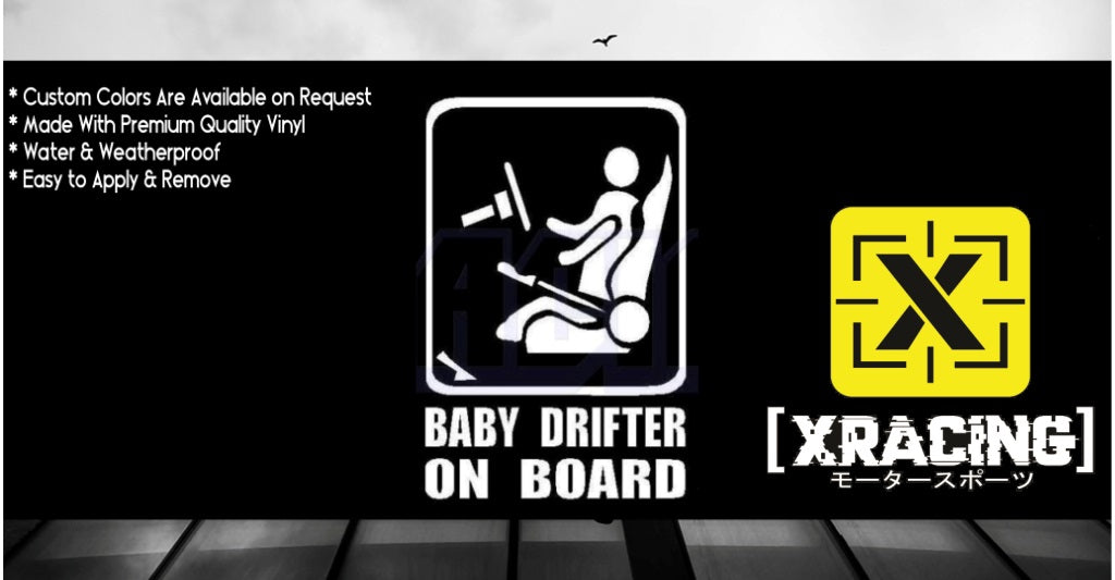 BABY DRIFTER ON BOARD CAR STICKER SIGN JDM STICKER DECAL [XRACING] #!