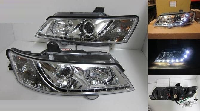 Holden COMMODORE VY Crystal Clear Lens Projector Headlights with LED DRL 2001 - 2004