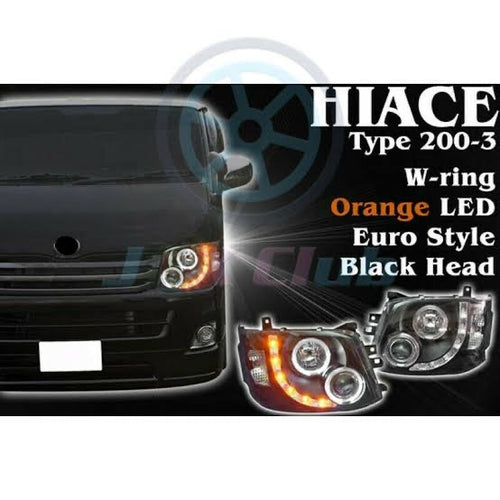 TOYOTA HIACE JDM Black Projector Headlights  with Halo Rings 2011 - 2014
