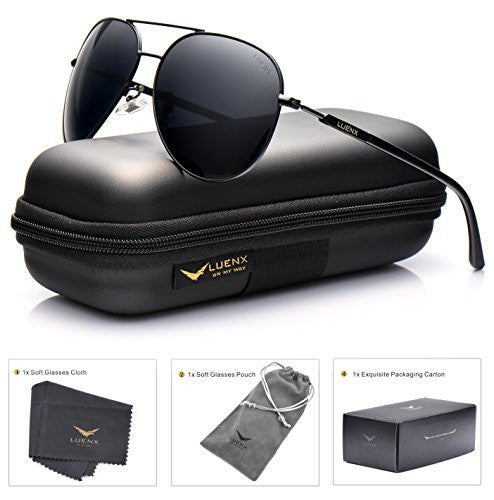 LUENX Mens Aviator Sunglasses Polarized with Case - UV 400 Protection Colors 60mm