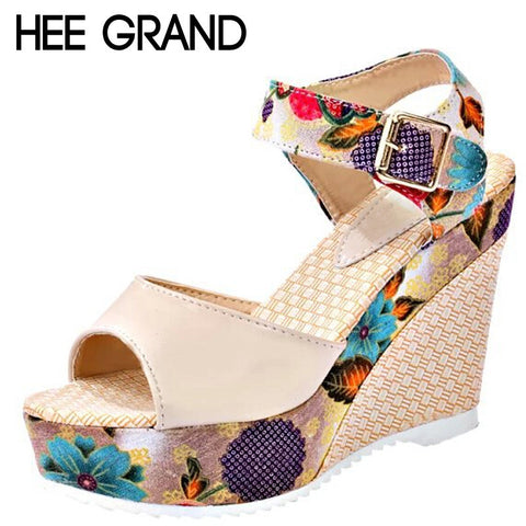 Florral Print Wedges Heel Sandals