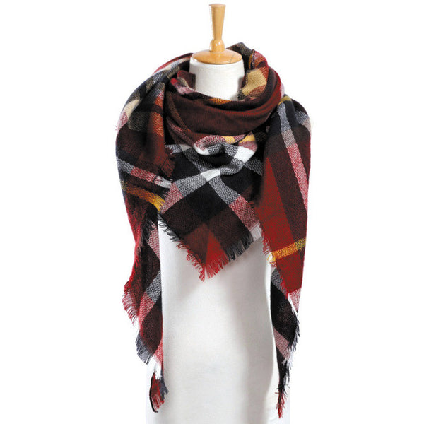 Winter Scarf Plaid Scarf Designer Unisex Acrylic Basic Shawls Women's