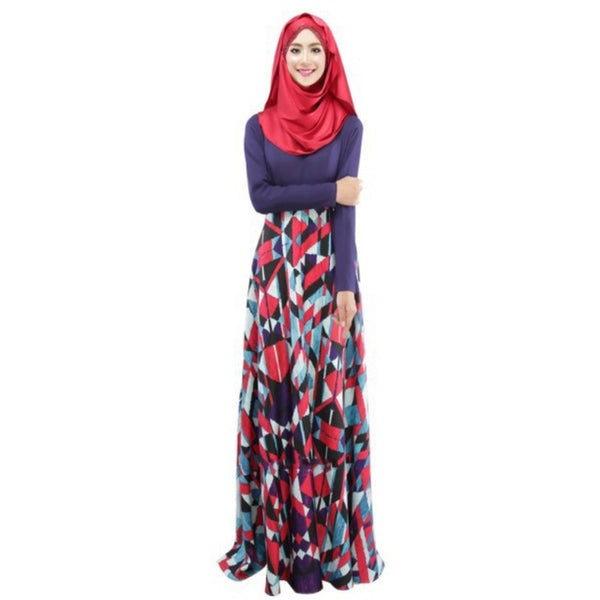 New Woman's Kaftan Abaya Jilbab Islamic Muslim Party Wear Long Sleeve Floral Maxi Dress PY3