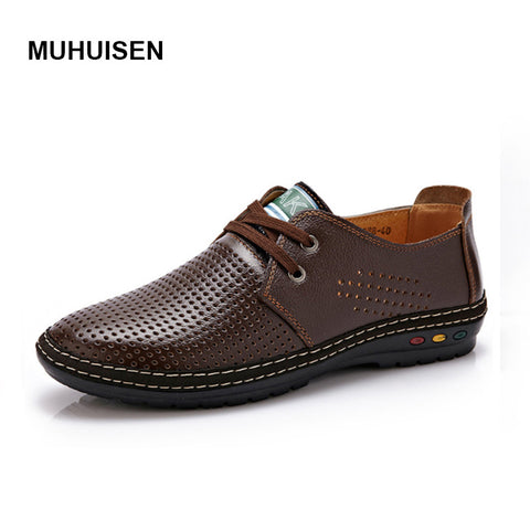 Genuine Leather Men casual shoes Summer 2017