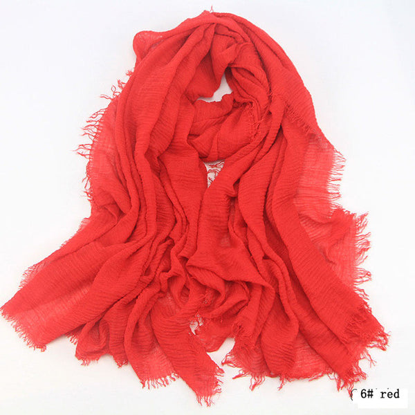 Women Cotton bubble plain wrinkle Hijab Scarf with fringes Popular Muslim muffler