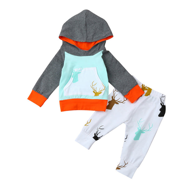 New Baby Boys Girls Clothes Set Warm Outfits Tops Hoodie Top + Pant Leggings Cute Animals Deer Print Kids Baby Clothes