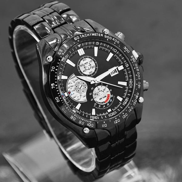 Luxury Sport Stainless Steel Date Quartz Analog Mens Wrist Watch Black