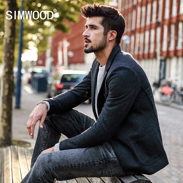 New SIMWOOD 2017 Autumn Winter New Blazers Men  Smart Casual Suits Woolen Coats Fashion Slim Jacket High Quality Plus Size XZ017008