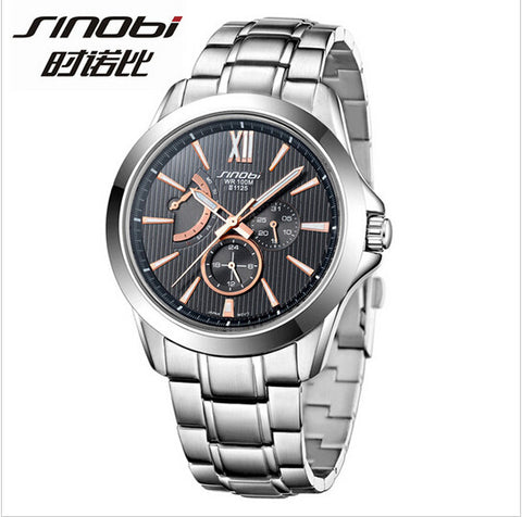 new SINOBI men's top brand luxury waterproof steel watch