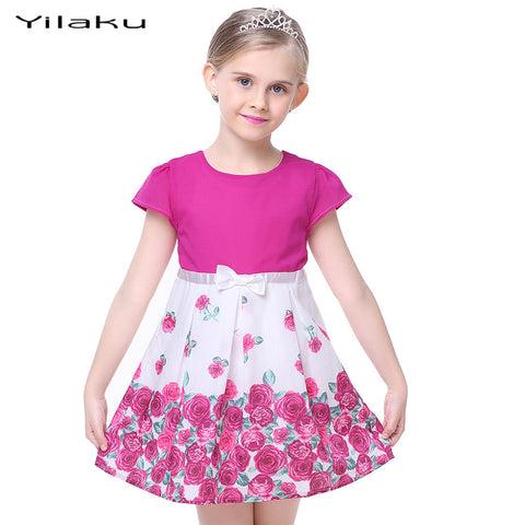 Kids Girl Cotton Short Sleeve Rose Flower Bow Party Dress