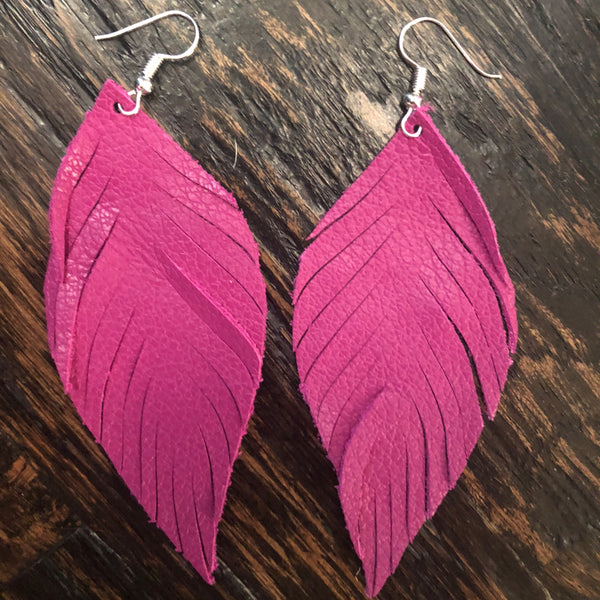 Pink feather leather earrings