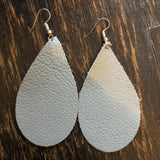 Gray Leather Earrings