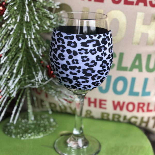 Black leopard wine sleeve