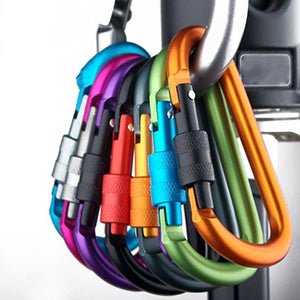 5pcs 8mm Aluminum Alloy Carabiner Type D Quickdraw Outdoor Climbing Safety Hook Screw Lock Backpack Buckle Hanging Padlock Tools