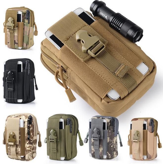 Universal Outdoor Tactical Holster Military Molle Hip Waist Belt Bag Wallet Pouch Purse Phone Case with Zipper for iPhone