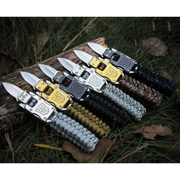 New Outdoor Survival Multi Functional EDC Tactical 7 Core Umbrella Rope Bracelet With Knife