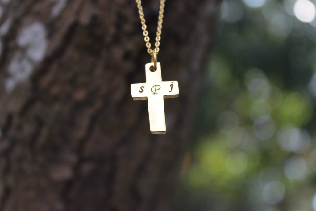 Gold Tone Monogram Cross, Christian Necklace, Christian Jewelry, Monogramed, Religious Necklace, Religious Jewelry,  Confirmation Gift