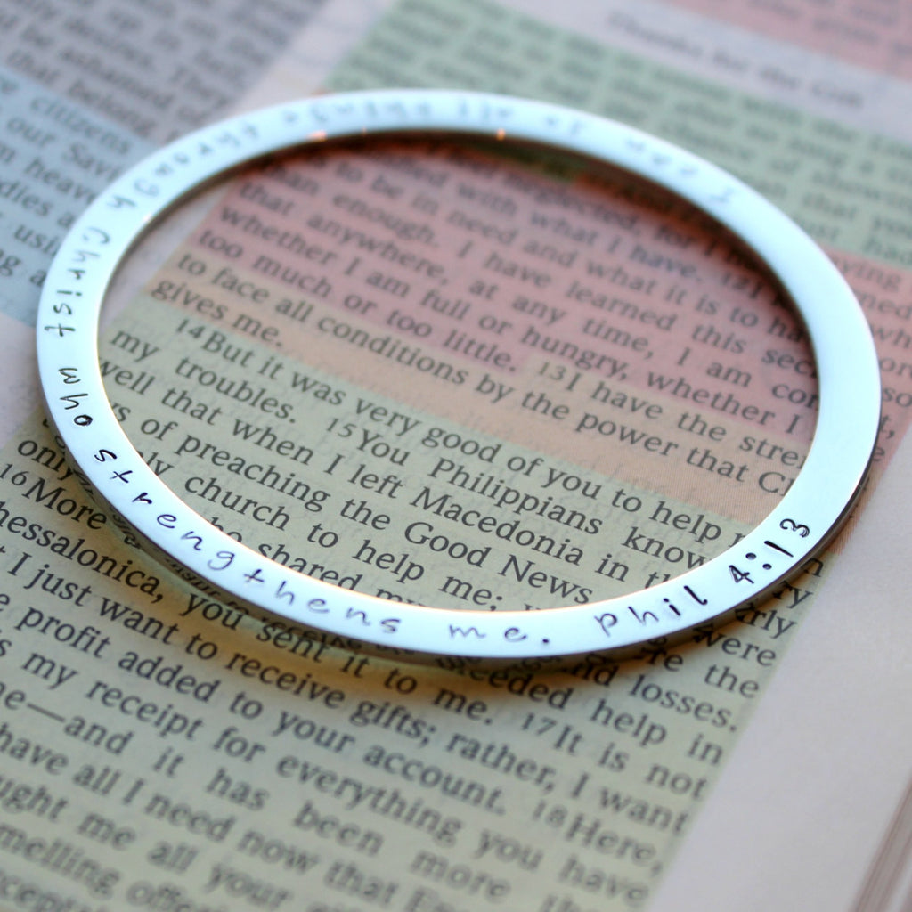 Phil 4:13, Philippians 4 13, Rose Silver Gold Bangle, Religious, Christian Bracelet, I can do all things through Christ who strengthens me