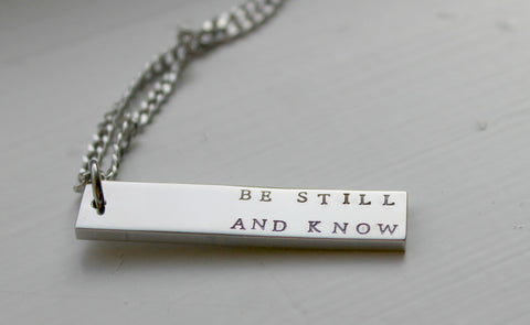 Be Still And Know, I Am God, Psalm 46:10, Gold Rose Silver Pendant, Christian Jewelry, Biblical Scripture, Religious Jewelry, Confirmation