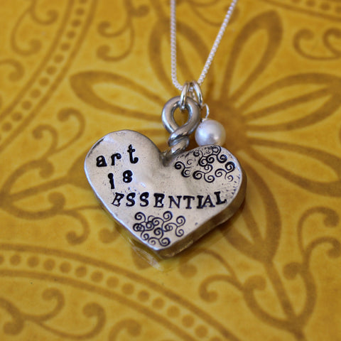 Art Is Essential -  Hand Stamped Pewter Heart - Pearl Sterling Silver Necklace -  Gift For Her -  Gift For Graduate - Ready To Ship Gift