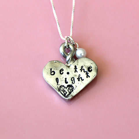 Be The Light - Matt 5:14 - Christian - Hand Stamped Pewter Heart - Pearl Sterling Silver Necklace - Gift For Her - Graduate - Ready To Ship